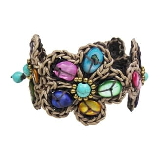 Rustic Floral Mix Color Mother of Pearl Adjustable Bracelet (Thailand)