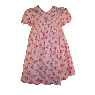 Laura Ashley Toddler Girl's Pink Floral Smocked Corduroy Dress