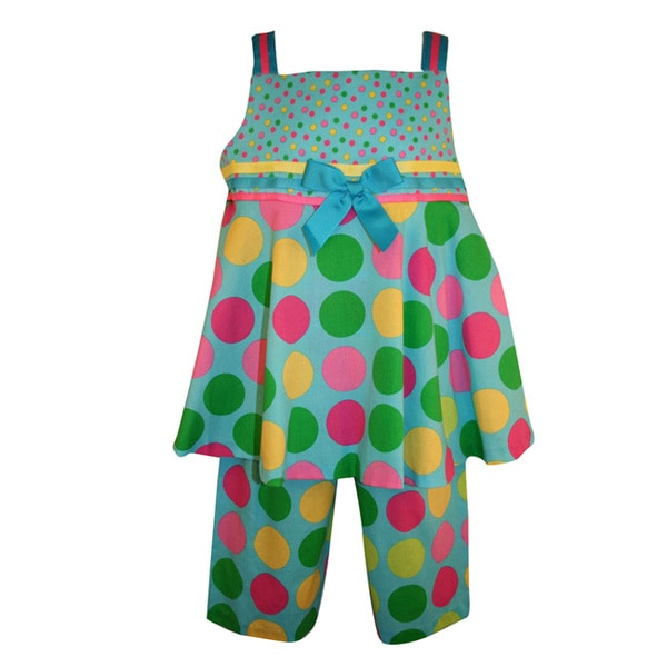 Rare Editions Girl's Turquoise Multi-colored Polka Dot Capri Pant Set