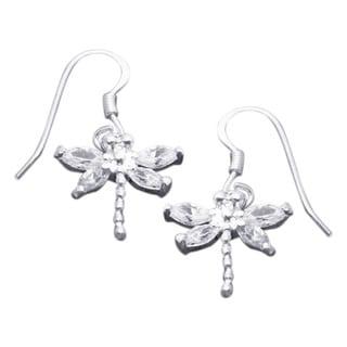 Pretty Cubic Zirconia Dragonfly .925 Silver Dangle Earrings (Thailand)