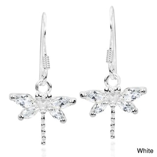 Pretty Cubic Zirconia Dragonfly .925 Silver Dangle Earrings (Thailand)