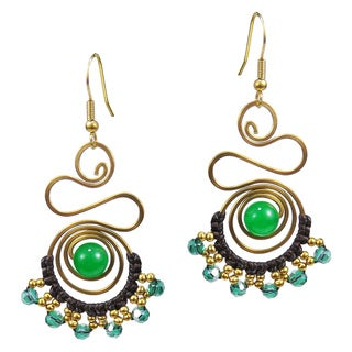 Royal Swirls Aventurine Stone Crystal Embellished Earrings (Thailand)