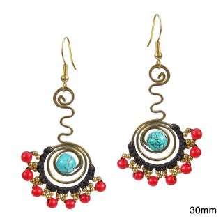 Comet Swirls Red Coral Embellished Small Earrings (Thailand)