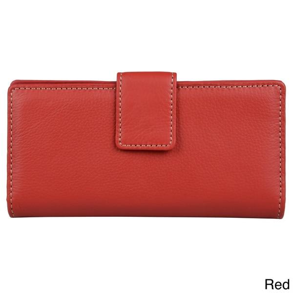 Mundi Women's Genuine Leather Checkbook Clutch Wallet