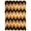 Chic Luxurious Soft Shag Chevron Brown Beige Area Rug (3'4 x 4'8)