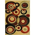 Istanbul Collection Beige Multicolor Circles Area Rug (5'3 x7'2)