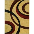 Hand Carved Beige Interlocking Circles Area Rug (5'3 x 7'2)