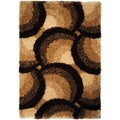 Chic Luxurious Soft Shag Waves Brown Beige Area Rug (6'7 x 9'3)
