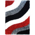 Chic Luxurious Soft Shag Waves Red Multicolor Area Rug (6'7 x 9'3)