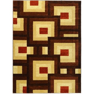 Hand Carved Brown Interlocking Squares Area Rug (7'11 x 9'10)