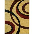 Hand Carved Beige Interlocking Circles Area Rug (7'11 x 9'10)