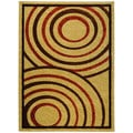 Hand Carved Beige Abstract Circles Area Rug (5'3 x 7'2)