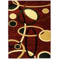 Hand Carved Red Abstract Shapes Area Rug (7'11 x 9'10)
