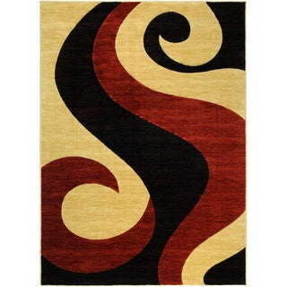 Hand Carved Red & Black Tribal Fire Flame Area Rug (5'3 x 7'2)