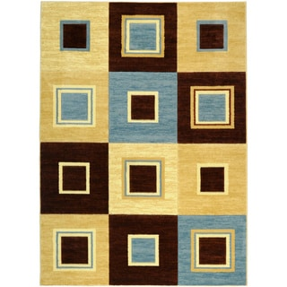 Hand-carved Geometric Boxes Blue/ Beige Area Rug (7'11 x 9'10)