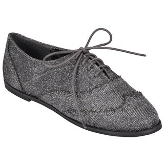 Journee Collection Women's 'Messina' Metallic Lace-up Oxfords