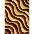 Hand-carved Geometric Waves Red/ Brown Area Rug (5'3 x 7'2)