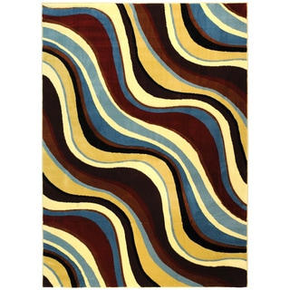 Hand-carved Geometric Waves Blue/ Brown Area Rug (7'11 x 9'10)