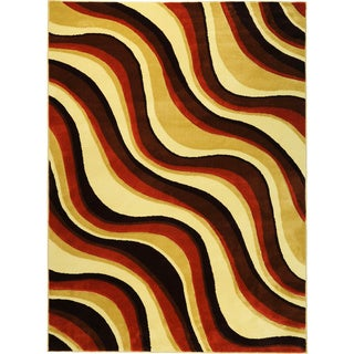 Hand-carved Geometric Waves Red/ Brown Area Rug (7'11 x 9'10)