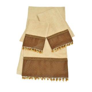 Sherry Kline Basket Leather Wheat 3-piece Embellished Towel Set