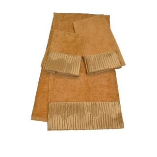 Sherry Kline Vertical Pleats Gold 3-piece Embellished Towel Set