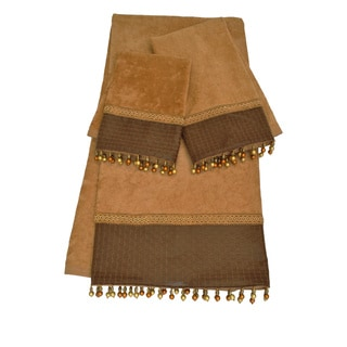 Sherry Kline Basket Leather Gold Embellished 3-piece Towel Set