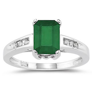14k White Gold Emerald and 1/10ct TDW Diamond Ring (I-J, I1-I2)