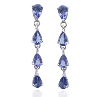 De Buman Sterling Silver Genuine Tanzanite Earrings