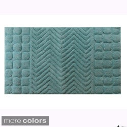 Square Borders Cotton 20 x 30 Bath Rug (Set of 2)