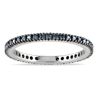 Miadora 10k Gold 3/8ct TDW Blue Diamond Black Prong Eternity Band