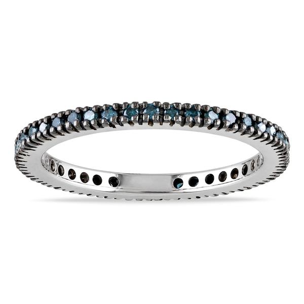 Miadora 10k Gold 3/8ct TDW Blue Diamond Black Prong Eternity Band