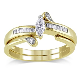 Miadora 10k Yellow Gold 1/4ct TDW Diamond Bridal Set (H-I, I2-I3)