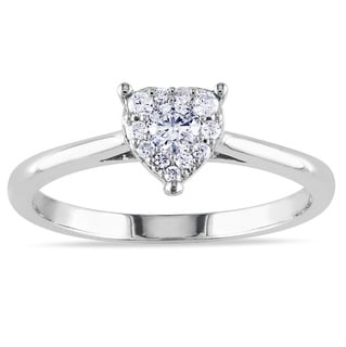 Miadora 10k White Gold 1/4ct TDW Heart Diamond Ring (G-H, I1-I2)