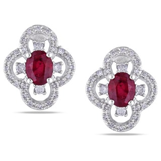 Miadora 10k White Gold Ruby and 1/4ct TDW Diamond Earrings (G-H, I1-I2)
