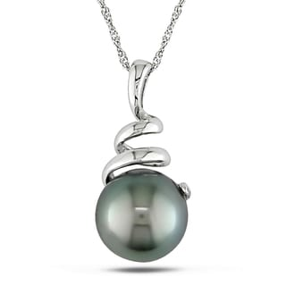 Miadora 10k White Gold Black Tahitian Pearl Necklace (8-8.5 mm)
