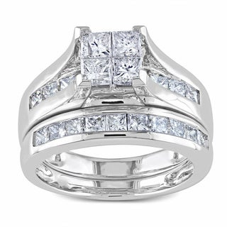 Miadora 14k White Gold 2ct TDW Princess Cut Diamond Bridal Ring Set (G-H, I1-I2)