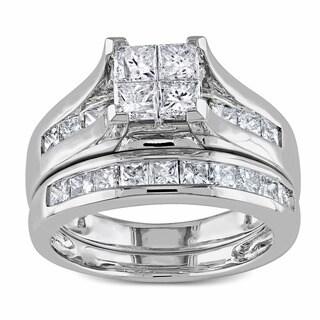 Miadora 14k White Gold 2ct TDW Princess Cut Diamond Bridal Ring Set (G-H, I1-I2)