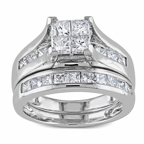Miadora Signature Collection 2ct Princess Diamond TW Bridal Set Ring 14k White Gold GH I1;I2