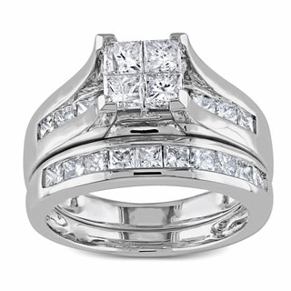 Miadora Signature Collection 2ct Princess Diamond TW Bridal Set Ring 14k White Gold GH I1;I2