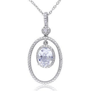 M by Miadora Sterling Silver Created White Sapphire and Diamond Necklace