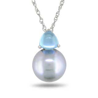 Miadora 10k White Gold Cultured Freshwater Pearl and Blue Topaz Necklace (9-9.5 mm)