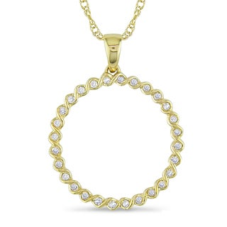 Miadora 14k Yellow Gold 1/4ct TDW Diamond Circle Necklace (H-I, I1-I2)