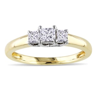 Miadora 14k Yellow Gold 1/2ct TDW Diamond 3-Stone Engagement Ring (G-H, I1-I2)