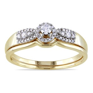 Miadora 10k Yellow Gold 1/3ct TDW Diamond Bridal Ring Set (H-I, I2-I3)