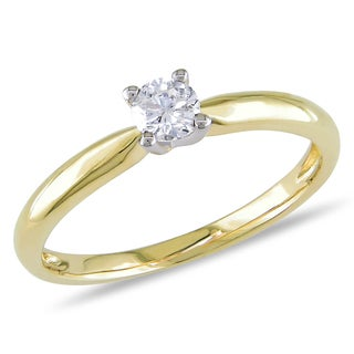 Miadora 10k Yellow Gold 1/4ct TDW Diamond Solitaire Engagement Ring (H-I, I2-I3)