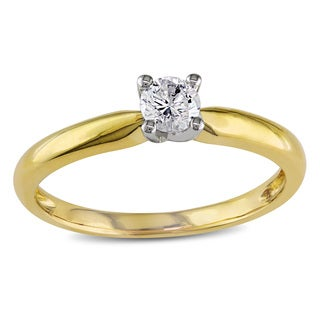 Miadora 10k Yellow Gold 1/4ct TDW Diamond Solitaire Engagement Ring (H-I, I2-I3)