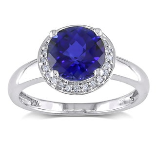 Miadora 10k Gold Created Sapphire and 1/10ct TDW Diamond Ring (H-I, I2-I3)