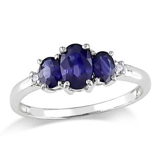 Miadora 10k White Gold 1ct TGW Created Sapphire and Diamond Ring