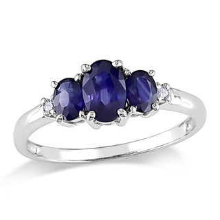 Miadora 10k White Gold 1ct TGW Created Sapphire and Diamond Ring