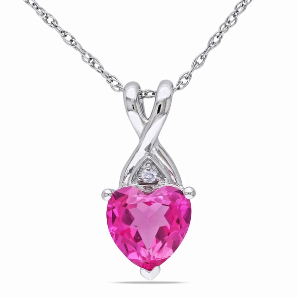 Miadora 10k White Gold Created Pink Sapphire and Diamond Heart Necklace